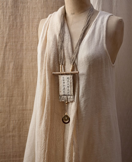 Collier zen lin et chanvre