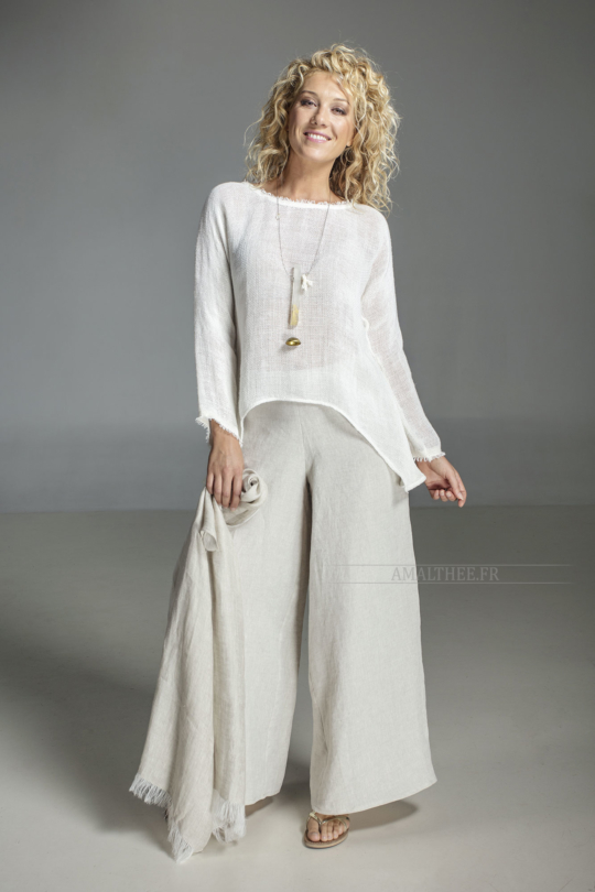 white knit linen top worn over our oatmeal line Baba  pants Looks