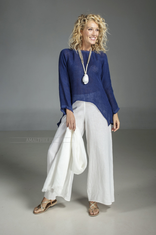 Blue indigo  knit linen top worn over our white linen Baba  pants Looks