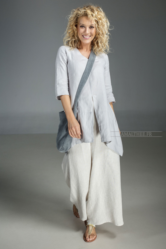Our natural grey blue linen blouse EmilieTHE must have of this summer! Looks