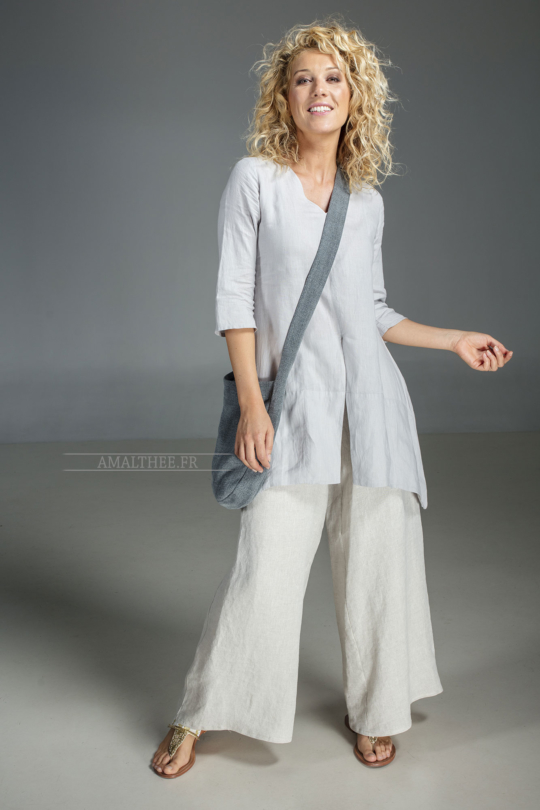 Our natural grey blue linen blouse Emilie and natural oatmeal linen sarouel Looks
