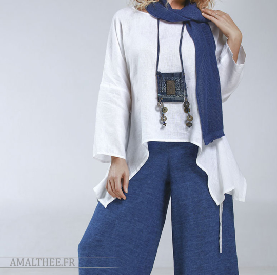 loose fit top Rubans white linen Tops with sleeves
