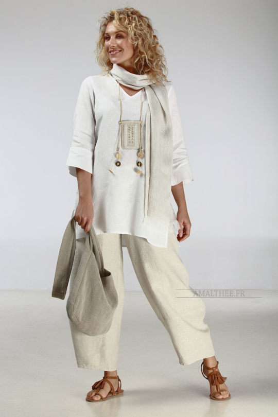 White summer linen tunic with sleeves Looks