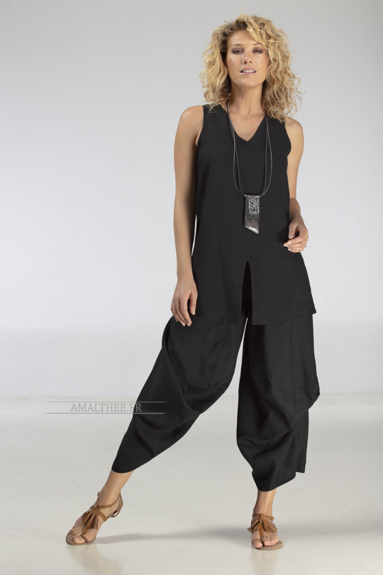 Funky drape legs black pant with assorted top Looks