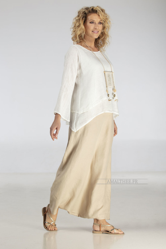Loose fit layered linen gauze top Looks