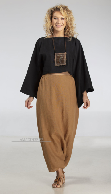 Top 'Japan' in black linen soft, kimono sleeves
