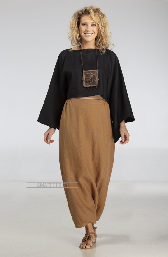 Top 'japan' in black linen with kimono sleeves Tops with sleeves