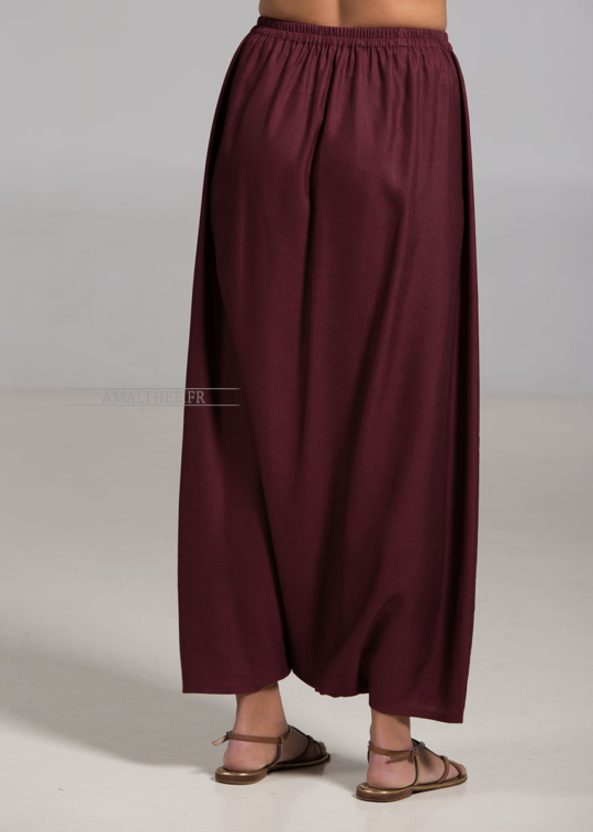 Blackcurrant color linen Sarouel-skirt Sarouels