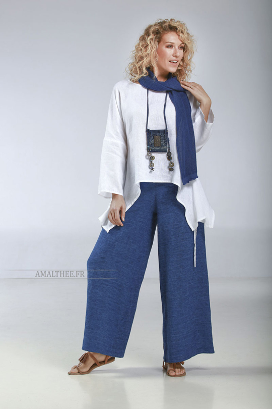 """Thin white linen loose fit Top """"Rubans"""", it matches perfectly with our blue stonewash indigo Baba  pants for a casual coastal spirit…A high quality European flax, souple and strong Looks"""