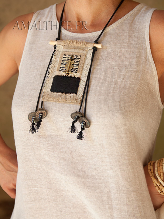 Handcraft ethnic textile necklace with linen and hemp Jewellery