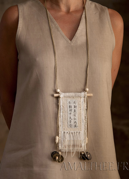 Vintage linen necklace with ethnic bone beads Jewellery