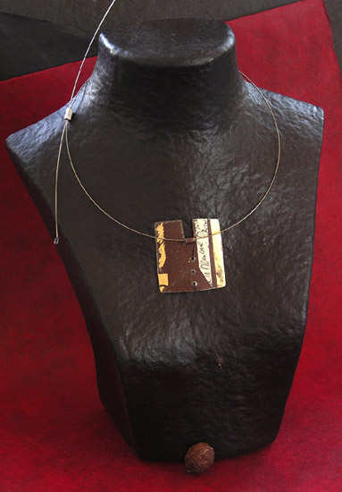 oxidysed metal necklace patinated with gold leaf Jewellery