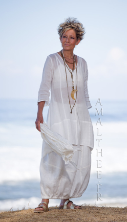 Thin linen Organdi Shirt Emilie with our natural white linen skirt Zoé Blouses