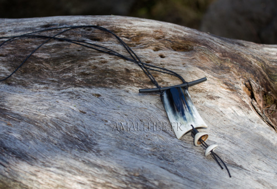 Black and white horn pendant necklace Jewellery
