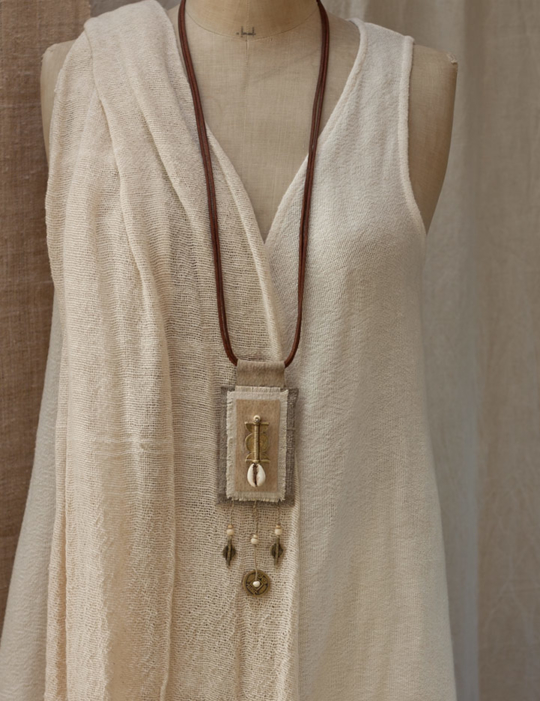 Long linen  pendant necklace with ethnic beads from Africa Jewellery