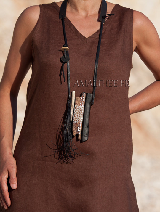 statement piece: contemporary tribal style wood and leather necklace Jewellery