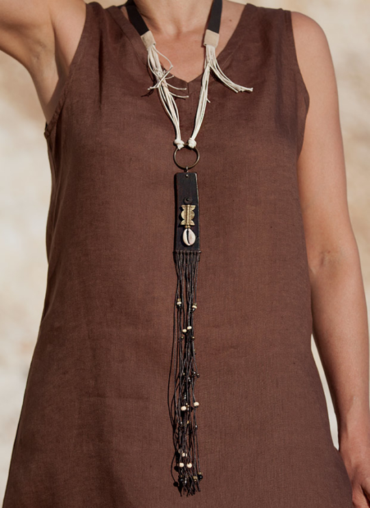Upcycled vintage leather pendant with ethnic beads Jewellery