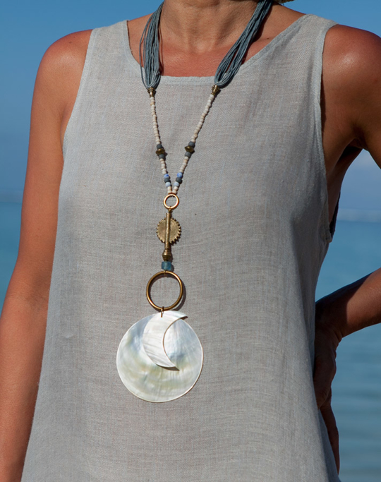 Mother of pearl pendant Sun and Moon Jewellery