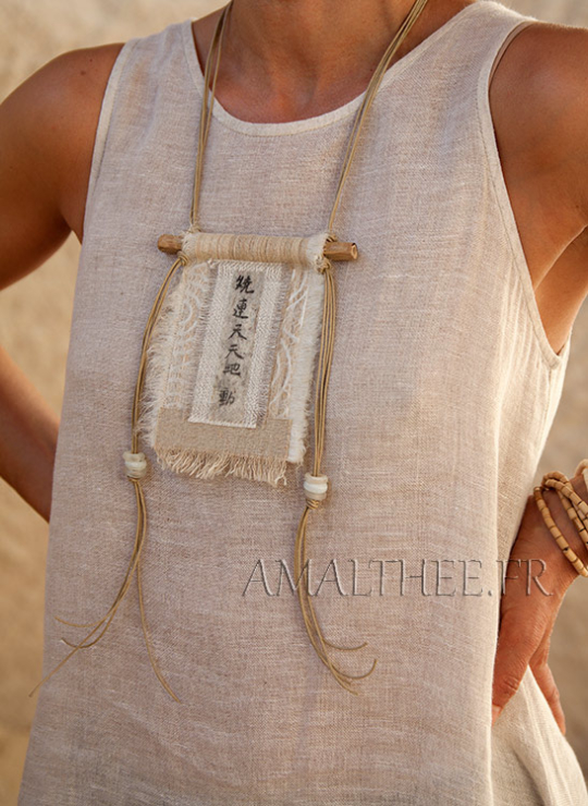 vintage linen necklace with Chinese printed calligraphy Jewellery