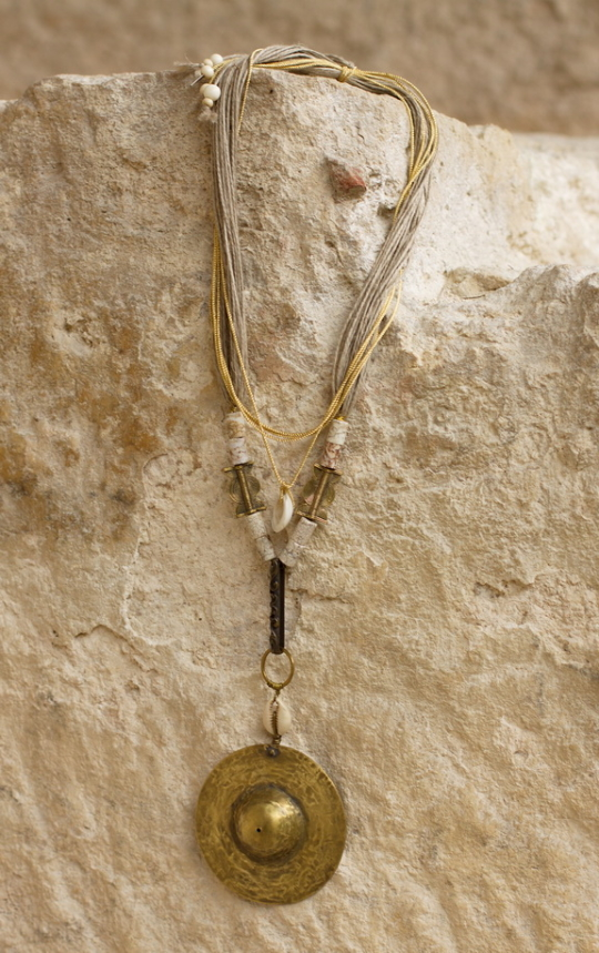 Hammered brass necklace with ancient ethnic beads Jewellery