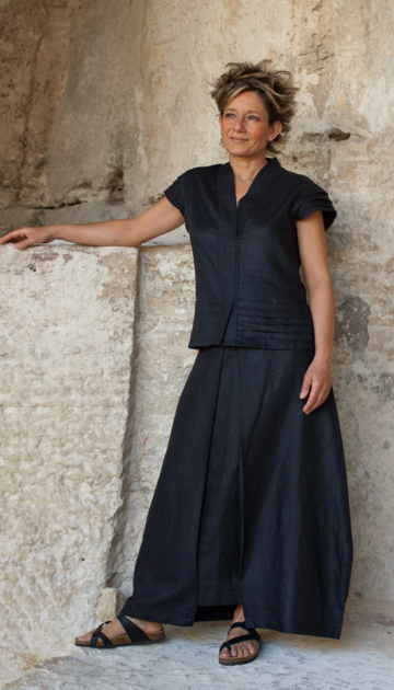 black linen outfit skirt . Looks