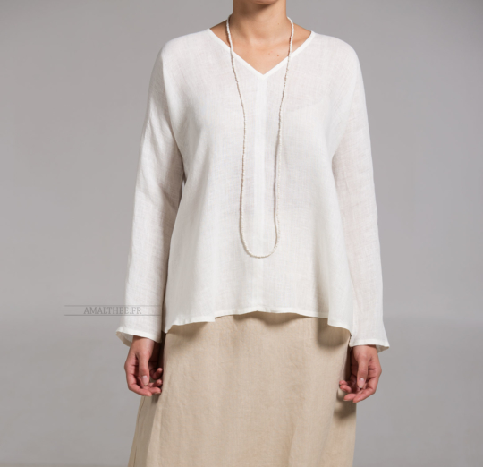 White linen gauze Dana top Tops with sleeves