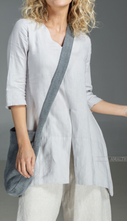 Our natural grey blue linen blouse Emilie Blouses