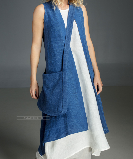 Long blue Indigo summer linen vest and linen tunic, Cardigans