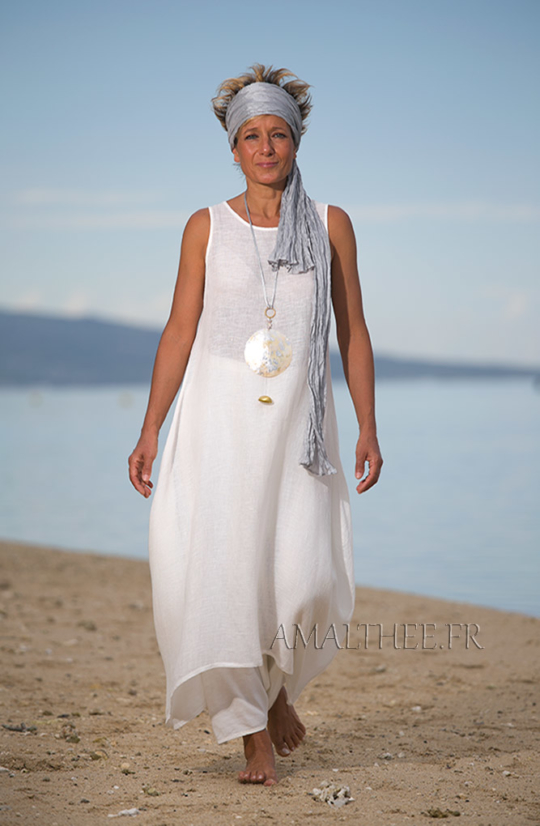 Natural white layered linen gauze tunic Looks