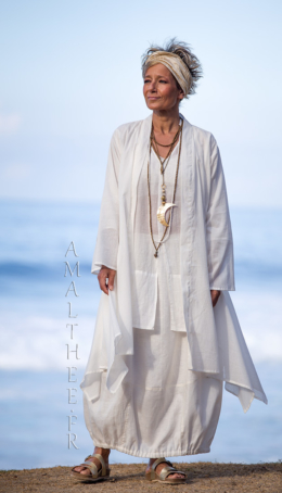 Layered summer outfit:loose fit super thin white cotton summer coat Angel Coats