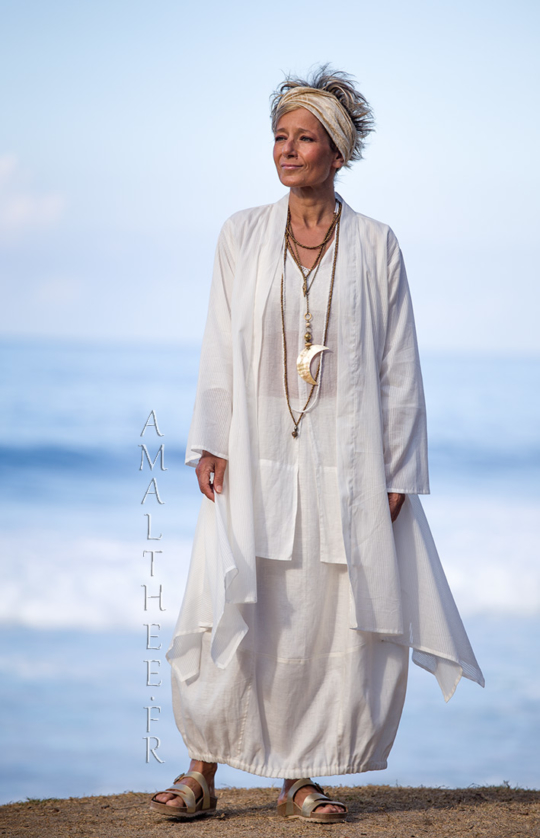 Layered summer outfit:loose fit super thin white cotton summer coat Angel Looks