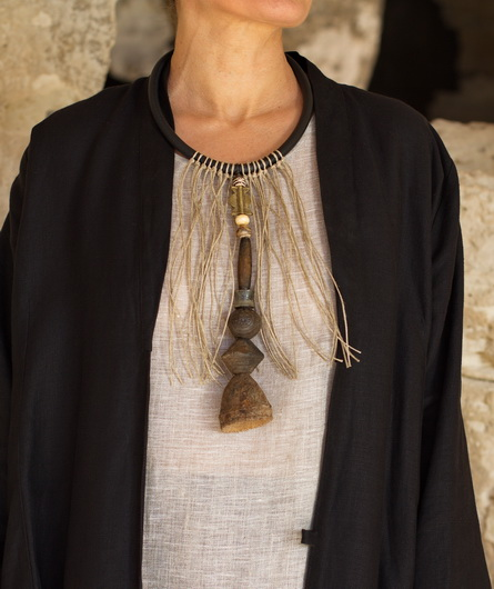 Necklace: one of a kind, gorgeous old spindle whorl clay beads Jewellery