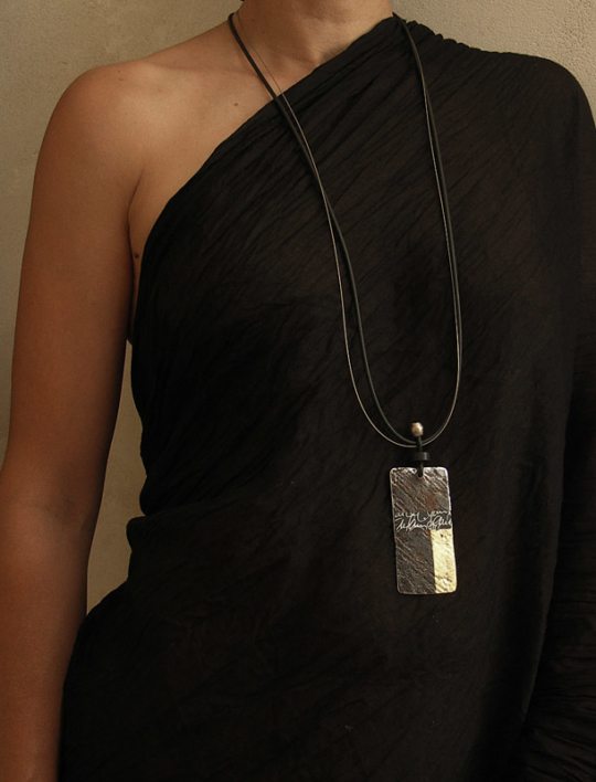 jewelry designer:  oxydized and polished metal necklace Jewellery