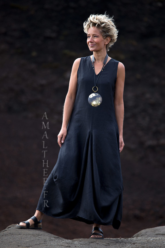 Black linen Moon dress Dresses