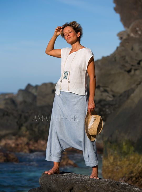 Blue linen harem pants is very soft and supple Looks