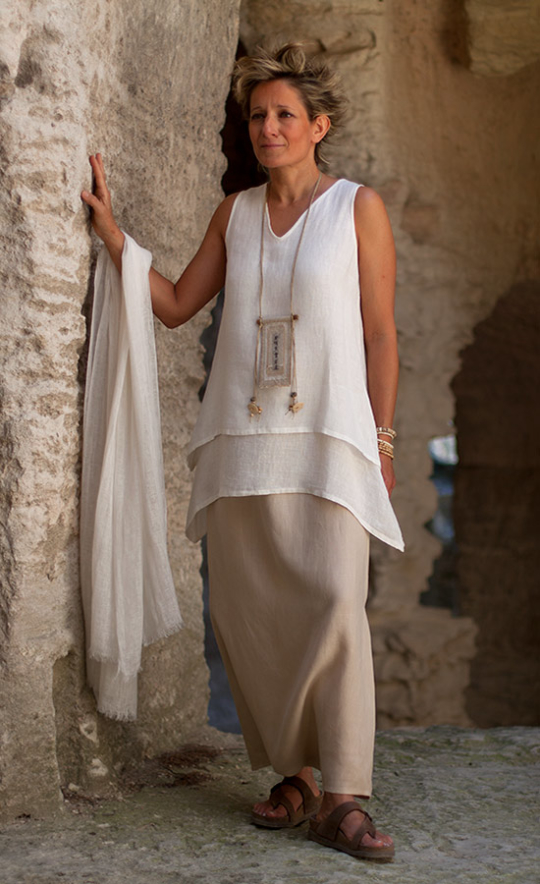 layered off white linen gauze top Looks