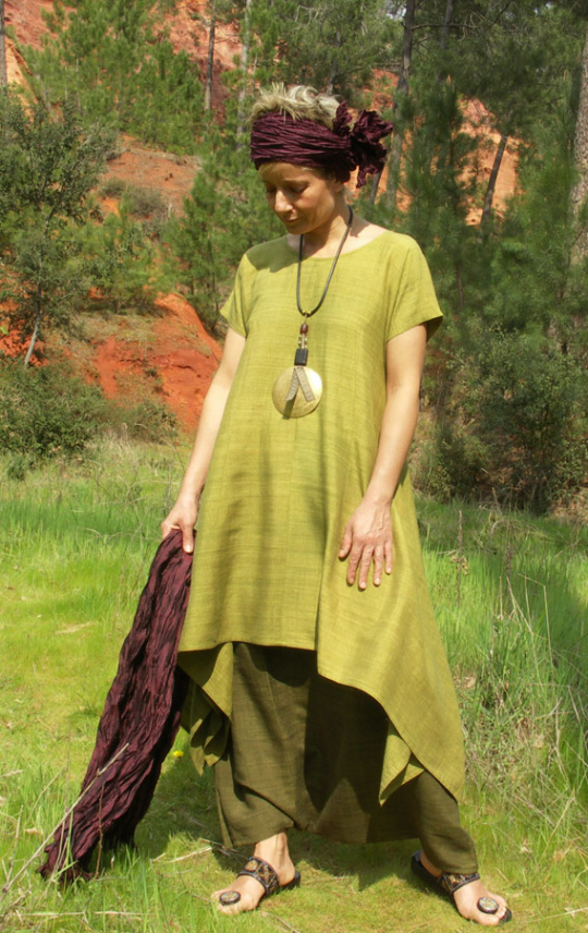 Set in raw silk:Lime green tunic and harem pants Looks