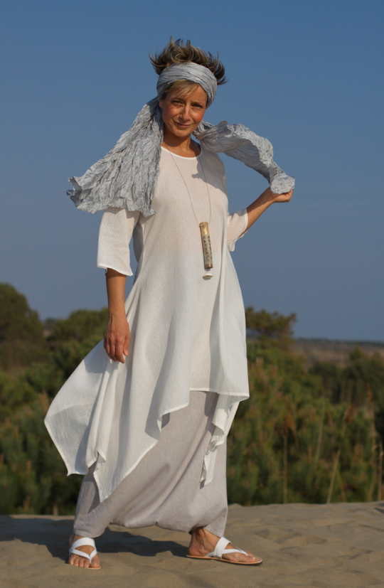 White cotton veil tunic, ice blue linen sarouel skirt Looks