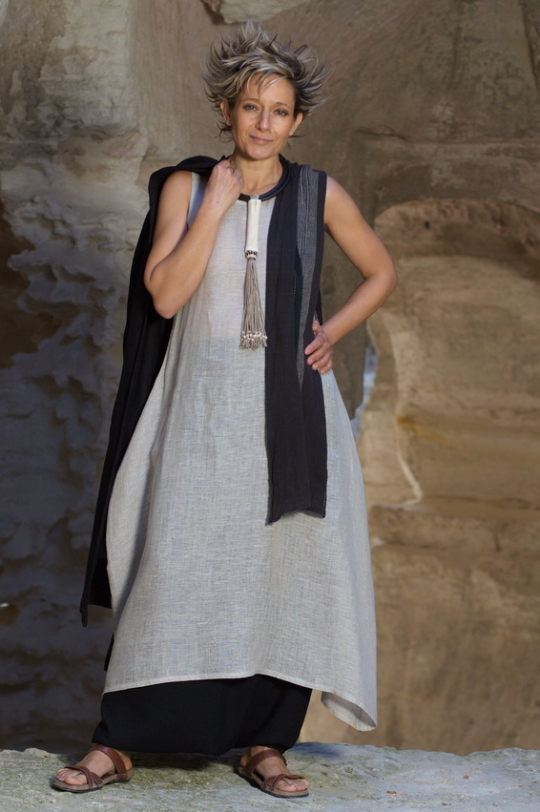 Tunic/dress made of linen gauze natural color AMALTHEE CREATIONS Jewellery