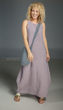 Long purple Lavender dress in 100% linen Tailor made