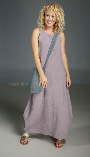 Long purple Lavender dress in 100% linen Clothes spring summer