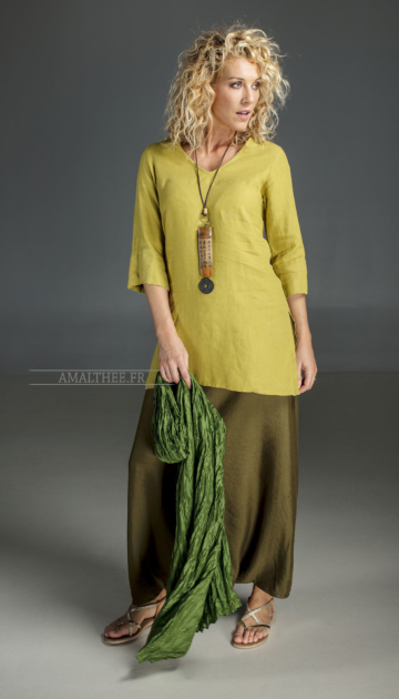 Linen green forest sarouel skirt Plus sizes