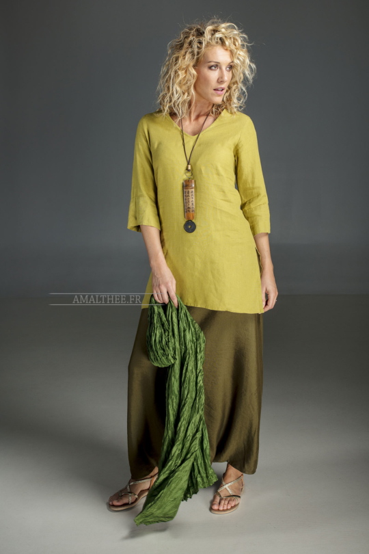 Linden green flax linen INDIE Tunic worn over a green  mixed linen sarouel skirt.and a green silk scarve. Looks
