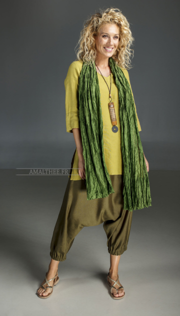 Green forest  creased silk scarf Scarves
