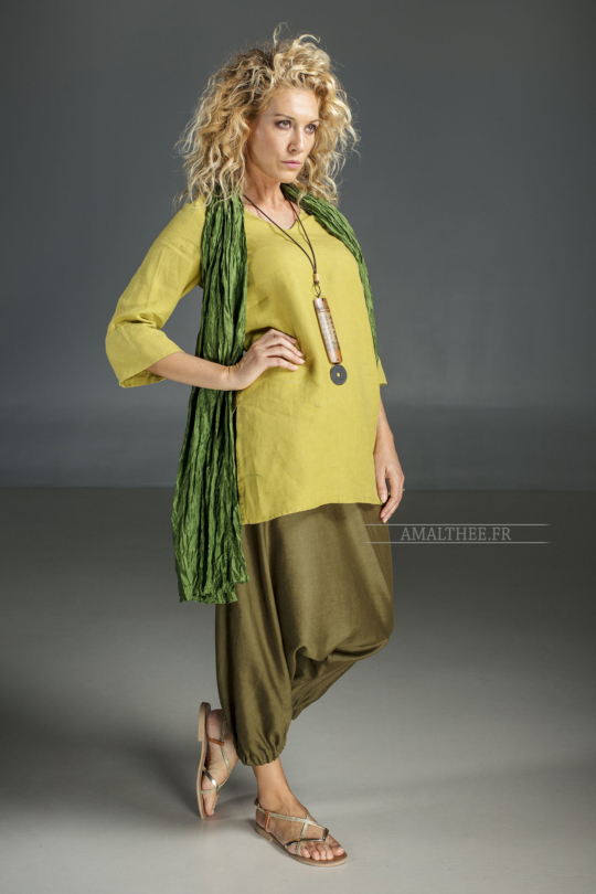 Linden green flax linen INDIE Tunic worn over a green  mixed linen sarouel skirt.and a green silk scarve. Looks Spring summer