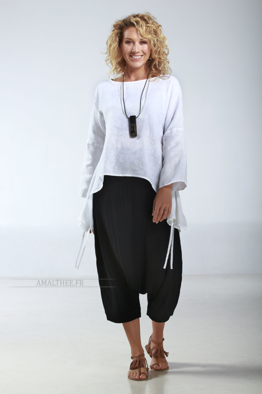 wide loose  tunic in white linen Looks Spring summer