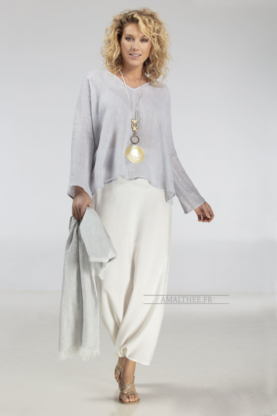 Ice grey blue linen gauze Dana top Tops with sleeves