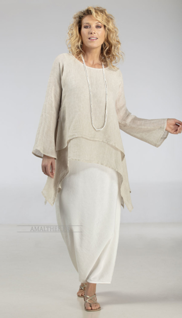 Loose fit beige linen gauze  tunic perfect for wedding party Looks