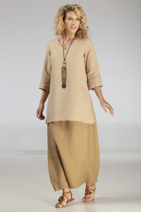flax linen golden beige Tunic with sleeves and havana sarouel skirt Looks Spring summer