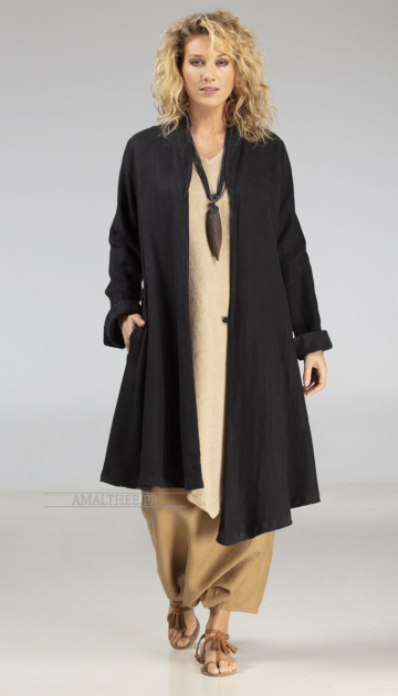 Asymmetrical black linen coat for women Looks